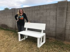 So happy with how this bench turned out! And was super simple to build! #bench #diy Woodworking Projects Diy, Diy Projects, Project Ideas, Bench With Back, Diy Furniture Plans, Do It Yourself Projects, Building Plans, Hanging Out, Dining Bench