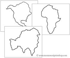 Nice Continents Cutting And Pin Poking Shapes   Printable Montessori Materials  That Save Teachers Time For