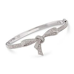 Ross-Simons - .15 ct. t.w. Diamond Bow Bangle Bracelet In Sterling Silver - #275326