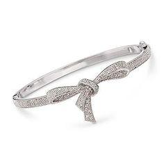 Ross-Simons - .15 ct. t.w. Diamond Bow Bangle Bracelet In Sterling Silver - #275326