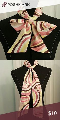 Fancy Multicolored Dress Scarf Super pretty earth-toned multicolored scarf. Tan, chocolate, blush, and yellow. Tie it on your purse to spice things up! 100% Polyester.  Please let me know if you have any questions. Thank you for looking! Xoxoxoxo Accessories Scarves & Wraps