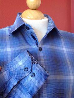 TAILOR BYRD Blue Plaid Cotton Contrast Cuffs L/S Shirt Size L Tailored Fit #TailorByrd #ButtonFront