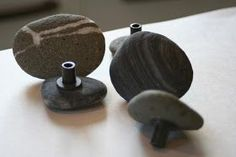 Lilliedale: Sticks and Stones - river rock diy cabinet knobs Diy Drawers, Knobs And Pulls, Drawer Pulls, Door Pulls, Drawer Knobs, Cool Ideas, Cabinet Knobs, Door Knobs, Diy Wall Decor
