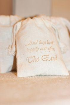 muslin gift favor bags THE END x10, wedding muslin favor bags, gift goody bags for favors, soaps, candies. $12.00, via Etsy.