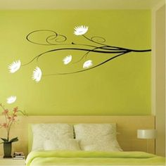 Posh Flower Branch Vinyl Wall Art Design by trendywalldesigns, $29.95