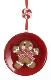 Gingerbread Kisses Cookie Boy on Plate Christmas Ornament
