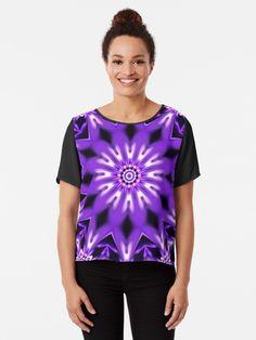 digital mandala with several shades of violet Shades Of Violet, Tshirt Colors, Wardrobe Staples, Female Models, Chiffon Tops, Classic T Shirts, Mandala, Artists, 3d