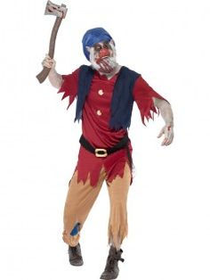 This Zombie Dwarf Costume is the perfect choice for a scary fairytale Halloween costume and consists of a red top with attached blue waistcoat, a pair of trousers with tattered hems and a zombie dwarf mask. - See more at: http://www.partyonwarehouse.com/fancy-dress/Product_Detail.php?Product=32870&parent=1251&Title=Zombie%20Dwarf%20Costume#sthash.7IeI9GTt.dpuf