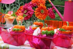 girls pink and orange party