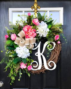 Spring Wreath for Front Door Monogram Wreaths by FleursDeLaVie