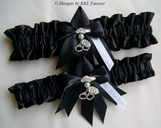 Police Wedding Garters Badge Charms Black by ElegantGarterShop, $45.00