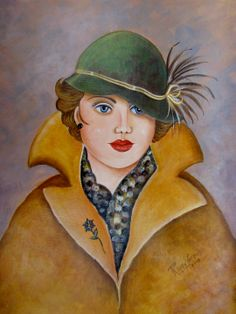 Lady in hat and coat.