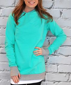 Look at this Olivia & Jane Mint & Gray Thumb-Hole Hoodie - Plus Too on #zulily today!