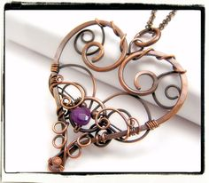 004 Filigree Heart Purple Amethyst Gemstone Wire by FashionWire, $34.99