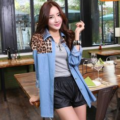 Find More   Information about Spring New 2014 Fashion Women Blouse Denim Shirt Women's Clothing Brand Style Jeans Chiffon Leopard Print Blouses Casual NZ019,High Quality  ,China   Suppliers, Cheap   from Minabell Fashion Store on Aliexpress.com