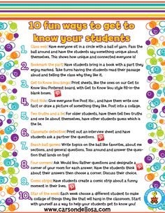 activities for Back-to-School? Maybe this list of ways to get to know your students can help! Also see them brought to life here on our Pinterest page