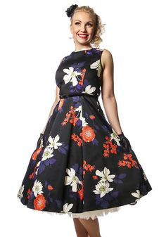 Japanese Floral On Black Hepburn -mekko. Suosittu Japanese Floral mustana!