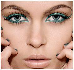 Green liner and long eyelash