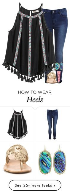"""You make me smile "" by sweettoothegj on Polyvore featuring Miss Selfridge, Jack Rogers, Kendra Scott and CO"