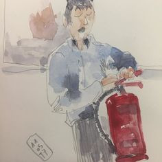 #Curso de #extinción manual de #incendios en la #upv con #bomberos #valencia #vancouver #fire #rescue #water #co2 #polvo #agua #humo #course #extinguishtheflames #flames #theory #teoria #practica @urbansketchers #sketch #fastsketchers #lamy #noodlersink #urbansketching #professor #teacher