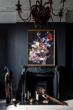 Art Deco And Interior Design Black Rooms, Black Walls, Decor Interior Design, Interior Decorating, Luxury Interior, Design Interiors, Color Interior, Decorating Ideas, Decor Ideas