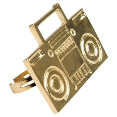 Gold Boom Box 2 Finger Ring Adjustable. Lead and Nickel Free. Doesn't turn at all. Girl Props Jewelry Rings