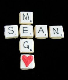 Scrabble Cut Out Cookies for Valentine's Day