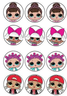 surprise party printables ideas for birthday Doll Birthday Cake, Birthday Cupcakes, 50th Birthday, Cupcake Toppers Free, Birthday Places, Bottle Cap Images, Bottle Caps, Doll Party, Lol Dolls