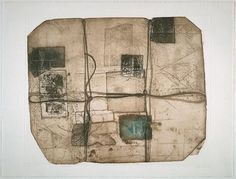Betty Goodwin, parcel seven, 1969, soft-ground etching and etching in brown and blue on woven paper