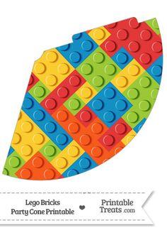 Lego Bricks Party Cone--- https://www.pinterest.com/printabletreats/lego-theme-printables/