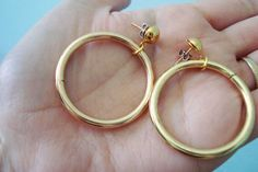 Iconic 50s Earrings Gold tone Deadstock Chic Hoop by Aquanetta, $18.00