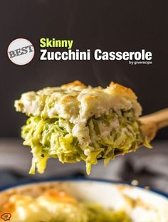 This is the Best Skinny Zucchini Casserole. Forget all the zucchini recipes you know! So GOOD that my vegetable hater hubby gobbles it whenever I make it.