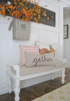home decor idea, white and grey, pillows, fall, autumn