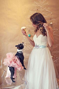This picture is trying to tell me something...I'm suppose to dye my hair brown, put Moxi in a tutu and have cupcakes at my wedding?!