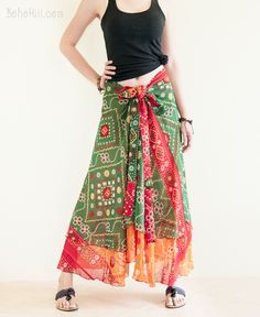 Gypsy Reversible Colorful Wrap Around Layered Skirt (RS-7)