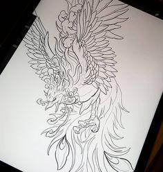 Ideas for asian dragon tattoo phoenix Phoenix Tattoo Feminine, Small Phoenix Tattoos, Phoenix Tattoo Design, Feminine Tattoos, Tattoo Phoenix, Backpiece Tattoo, Phönix Tattoo, Tattoo Outline, Body Art Tattoos