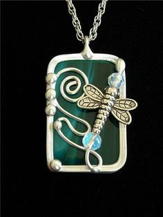 Handmade Stained Glass Dragonfly  Pendant