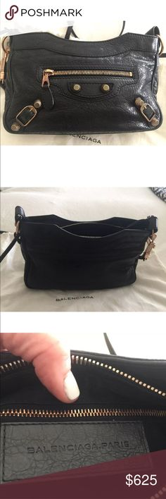 """Balenciaga Classic Giant Hip Cross Body Bag Balenciaga Classic Giant Hip Cross Body Bag   The Classic Hip shoulder bag from Balenciaga is a worthwhile investment to take you through the seasons. Crafted from supple black leather, this style is adorned with giant studs and buckles, offering signature finishing touches. Downsize from your everyday tote to this compact size – it's seriously practical.  SIZE & FIT Height 16cm-6.5"""" Width 24cm-9.5"""" Depth 8cm-3"""" Min. length shoulder strap…"""