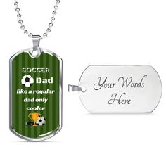 This personalized dog tag necklace is the perfect keepsake! It is the perfect way to show your special soccer dad how important he is in your life. The dog tag is available in gold and silver with prices starting at $39.95. The message says: soccer dad like a regular dad only cooler. #dadgift #soccerdadgift Double Heart Necklace, Love Lily, Glass Coating, Personalized Necklace, Gifts For Father, Custom Engraving, You Are The Father, Dog Gifts, Necklace Lengths