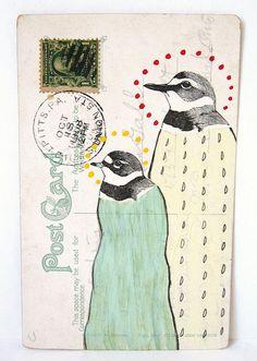 Frannie and George Frick-mailart Penguin post mail art Illustrations, Illustration Art, Mail Art Envelopes, Envelope Art, Postcard Art, Bird Art, Poster, Altered Art, Paper Art