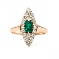 Striking Victorian Era Emerald and Diamond Navette Ring   Holly Hill