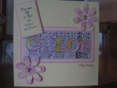 Young girl's birthday card - personalised/zentangled