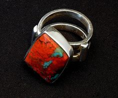 Sonora Sunset and Sterling Silver Two-Band Ring with Sterling Cross Bars