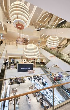 Luxury department store, The Hyundai opens in a brand new store in Pangyo, Gyunggi Province in South Korea. Retail Interior Design, Interior Decorating, Shoping Mall, Shopping Mall Interior, Atrium Design, Mix Use Building, Retail Signage, Mall Design, Dark Interiors