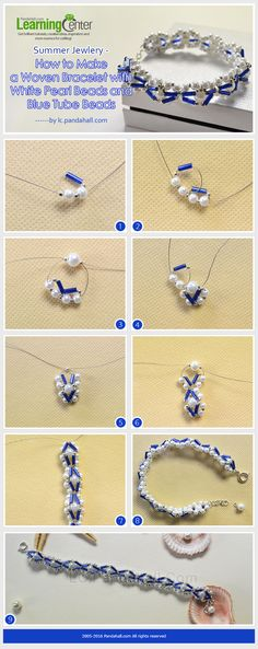 Summer Jewelry - How to Make a Woven Bracelet with White Pearl Beads and Blue Tube Beads from LC.Pandahall.com                       #pandahall