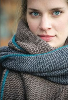 Basalt Wrap or Scarf. 3 colors, easy garter stitch, knitted on I-cord edge. Cozy comfort.