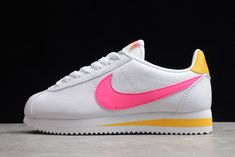 Wmns Nike Classic Cortez Leather White/Fuchsia-Laser Orange 807471-112 Sneakers Looks, Cute Sneakers, Sneakers Nike, Crazy Shoes, Me Too Shoes, Zapatillas Nike Cortez, Nike Classic Cortez Leather, Hype Shoes, Nike Outfits