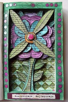 altered book flower