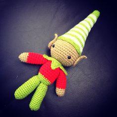 Green and red christmas crochet amigurumi elf