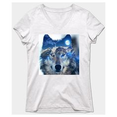 Wolf T-Shirt ($26) ❤ liked on Polyvore featuring tops, t-shirts, white t shirt, wolf tee, white top, white tee and wolf t shirt